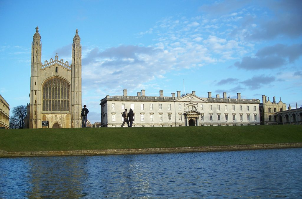 Picture of King's College, Cambridge, from the river.